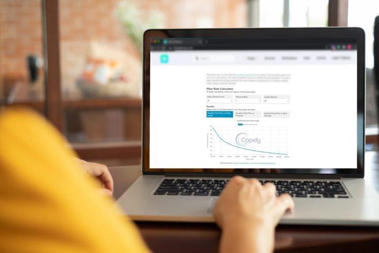 Flow rate calculator widget embedded onto website