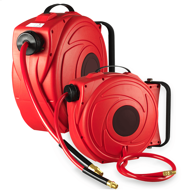 Retractable Air Hose Reel in Red Case